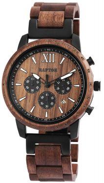 Raptor Herren Uhr Holz Armbanduhr Wallnussholz RA20255-001
