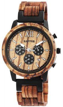 Raptor Herren Uhr Holz Armbanduhr Zebraholz RA20255-003