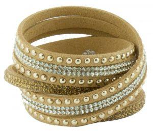 Wickelarmband Doppelarmband Modeschmuck-Armband beige 17 cm