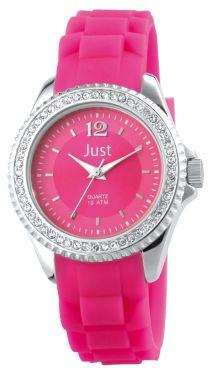 Just Damen Uhr Strass 48-S3858-RO Silikon pink