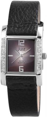 Just Damen Uhr schwarz Leder 48-S10106-BK Armbanduhr Strass