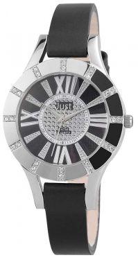Just Damen Uhr Leder JU10059-001 Armbanduhr schwarz silber Strass