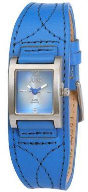 Just Damen Armbanduhr Unterlegearmband blau Echtlederband