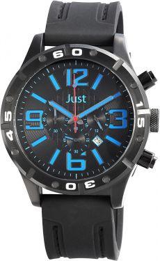 Just Chronograph Herrenuhr schwarz blau 48-S3978-BK-BL Armbanduhr