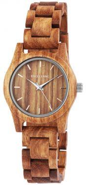 Excellanc Damen Uhr Holz Gliederarmband Holzuhr braun 1800156-004