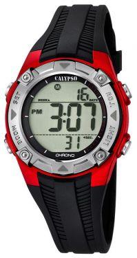 Calypso Kids Kinder Armbanduhr Digitaluhr K5685/6 schwarz rot silber