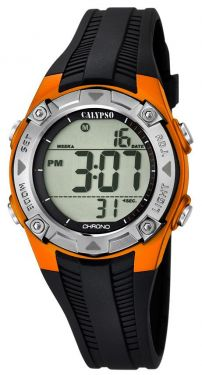 Calypso Kids Kinder Armbanduhr Digitaluhr K5685/7 schwarz orange silber