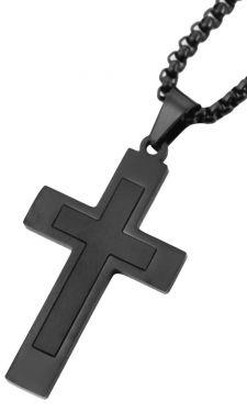 Herren Halskette mit Kreuz Anhänger schwarz 61 cm Venezianerkette schräg
