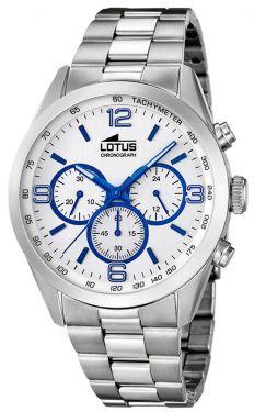 Lotus Herren Armbanduhr 18152/3 Edelstahlband Chronograph silber blau