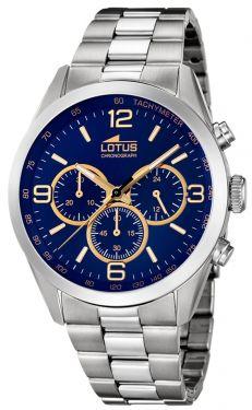 Lotus Herren Armbanduhr 18152/6 Edelstahlband Chronograph Uhr blau golden
