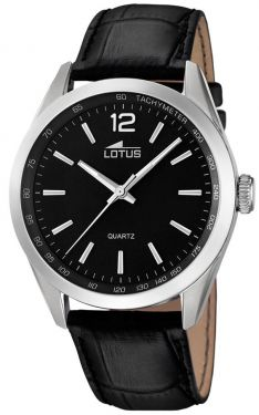 Lotus Herrenuhr Armbanduhr Lederband schwarz silber 18149/2