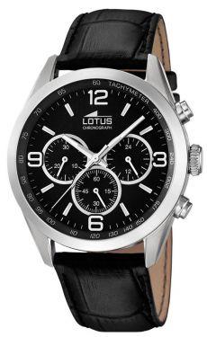 Lotus Herren Armbanduhr 18155/2 schwarz silber Lederarmband Chrono