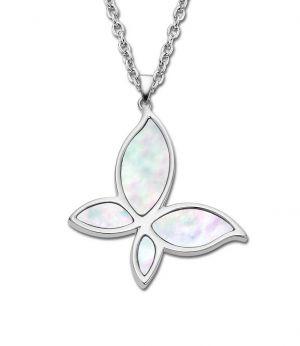 Halskette Collier LS1794-1/1 Lotus Style Kette Edelstahl Schmetterling Perlmutt anhaenger