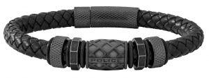 Police Herren Leder-Armband schwarz Magnetverschluß  PJ26458BLB.01