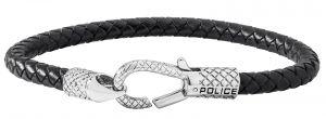 Police Herren Leder-Armband schwarz silber PJ26491BLB.01