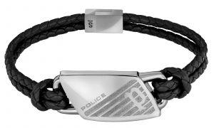 Police Herren Armband Lederarmband schwarz PJ26559BLS.01