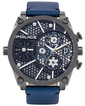 Police Armbanduhr Herrenuhr Multifunktion Lederband blau PL15381JSU.61B