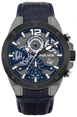 Police Herren Armbanduhr Lederarmband blau PL15711JSUB.03