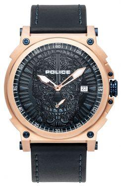 Police Herren Armbanduhr Lederarmband Totenkopf PL15728JSR.03