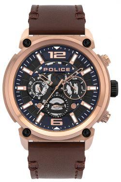 Police Herrenuhr braun Police Armbanduhr Lederband PL14378JSR.03