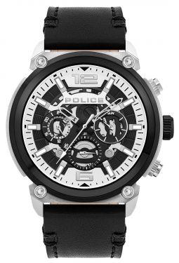 Police Herrenuhr schwarz Police Armbanduhr Lederband PL14378JSTB.01