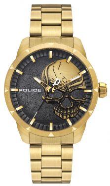 Police Armbanduhr Totenkopf Edelstahlarmband golden PL15715JSG.78M