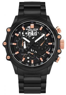 Police Herrenuhr Edelstahl Armbanduhr Chronograph schwarz PL16018JSB.02M