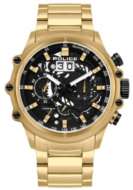 Police Herrenuhr Edelstahl Armbanduhr Chronograph golden PL16018JSG.02M