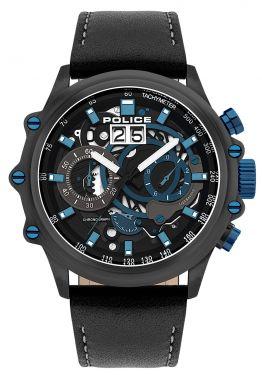 Police Herrenuhr Armbanduhr Chronograph Lederband PL16018JSU.02