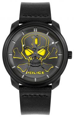 Police Herren Armbanduhr Lederarmband schwarz Totenkopf PL15714JSB.02