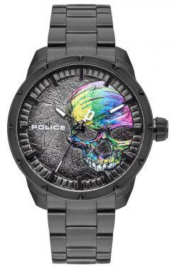 Police Armbanduhr Totenkopf Edelstahl schwarz PL15715JSB.78M