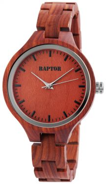 Raptor Damenuhr mit Holzarmband rot Armbanduhr RA20046