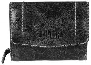 Raptor Leder Damen Geldbörse Querformat 12x9 cm schwarz 1007