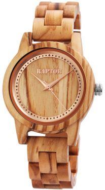 Damen Uhr Holzuhr Armbanduhr hellbraun Raptor