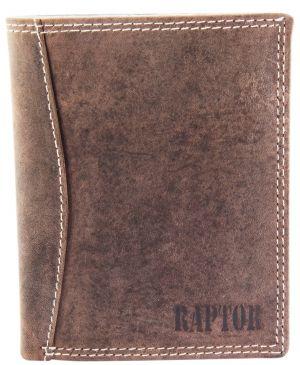 Raptor Leder Herren Geldbörse Vintage Hochformat 10x12 cm Braun 7003