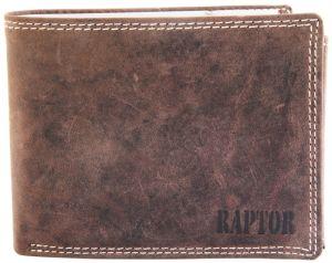 Raptor Leder Herren Geldbörse Querformat 12x10 cm Vintage Braun 7008