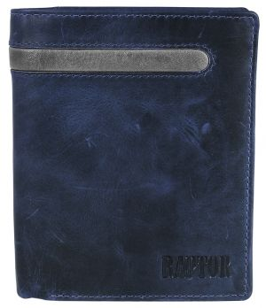 Raptor Leder Herren Geldbörse Blau Hochformat 10x13 cm 3018