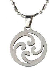 Herren Halskette mit Anhänger Kreis mit Wellen Metall Kugel Kette 48 cm