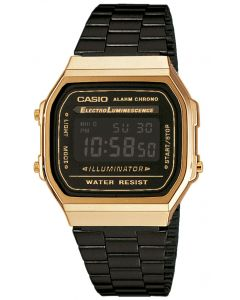 Casio Digitaluhr Retro A168WEGB-1BEF Collection schwarz golden