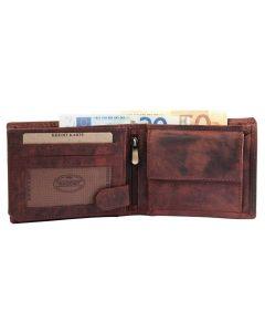 Echt Leder Herren Geldbörse Portemonnaie braun 3000119-003 offen
