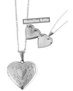 Foto Medaillon Bilder Amulett Herz Anhänger mit Kette Edelstahl silberfarbig