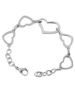 Edelstahl-Armband Herz 21 cm Armschmuck silbern 3