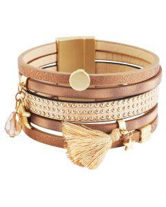 Damen Armband 19 cm braun golden Magentschließe