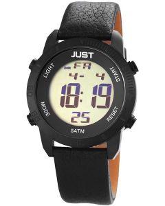 Just Watch Herren Digital Uhr 48-S10876-BK schwarz Lederarmband 44 mm
