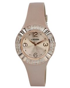 Damenuhr Calypso Armbanduhr K5659/2 beige Silikonband Strass