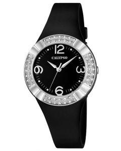 Damenuhr Calypso Armbanduhr K5659/4 schwarz silber