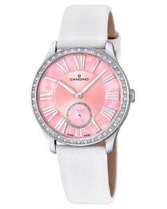 Candino Damen Armbanduhr weiss pink C4596/2 Saphirglas Lederband