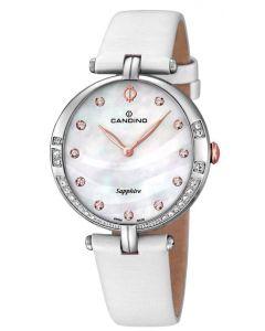 Candino Damen Armbanduhr C4601/2 Leder/Textilband creme Strass