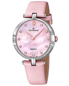 Candino Damen Armbanduhr C4601/2 Leder/Textilband rosa Strass