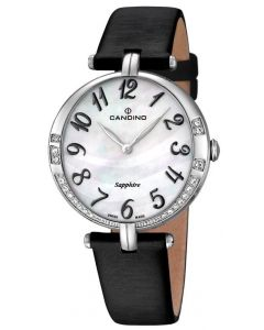 Candino Damen Armbanduhr C4601/4 Leder/Textilband schwarz Strass